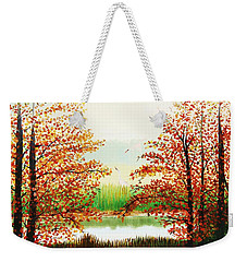 Autumn On The Ema River Estonia Weekender Tote Bag