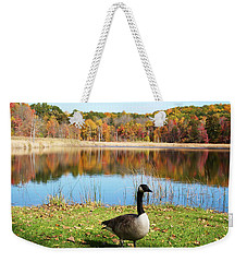 Autumn Pond Goose Weekender Tote Bag by Aimee L Maher Photography and Art Visit ALMGallerydotcom