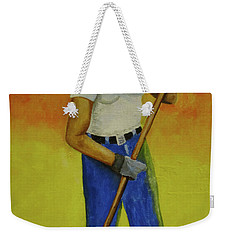Weekender Tote Bag featuring the painting Autumn Raking by Thomas J Herring