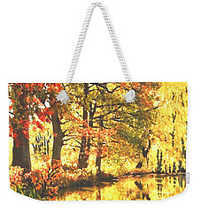 Weekender Tote Bag featuring the painting Autumn Reflections by Sophia Schmierer