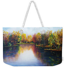 Weekender Tote Bag featuring the painting Autumn Reflections  by Vesna Martinjak