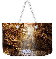 Weekender Tote Bag featuring the photograph Autumn River Light by Jessica Jenney