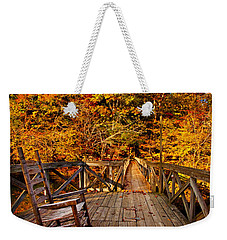Autumn Rocking On Wooden Bridge Landscape Print Weekender Tote Bag by Jerry Cowart