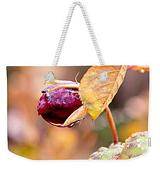 Weekender Tote Bag featuring the photograph Autumn Rosebud by Rona Black