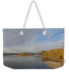 Weekender Tote Bag featuring the photograph Autumn Sun At The River by Christina Verdgeline