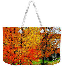 Weekender Tote Bag featuring the photograph Autumn Trees By Barn by Rodney Lee Williams