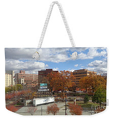 Weekender Tote Bag featuring the photograph Autumn View - Public Square by Christina Verdgeline