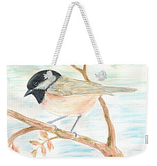 Weekender Tote Bag featuring the painting Autumn Visitor by Stephanie Grant