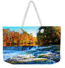 Amazing Autumn Flowing Waterfalls On The River  Weekender Tote Bag by Jerry Cowart