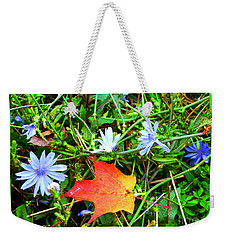 Weekender Tote Bag featuring the photograph Autumns First Leaf by Jackie Carpenter
