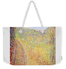 Autumns Maple Leaves And Train Tracks Weekender Tote Bag