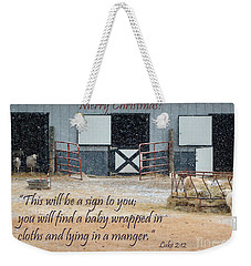 In A Manger Weekender Tote Bag by Nava Thompson