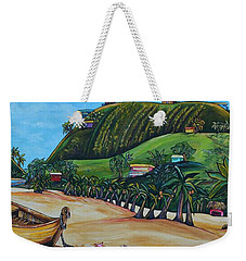 Weekender Tote Bag featuring the painting Away With The Fishes by Patti Schermerhorn
