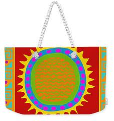 Weekender Tote Bag featuring the digital art Aztec Del Sol by Vagabond Folk Art - Virginia Vivier