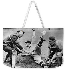 Babe Ruth Slides Home Weekender Tote Bag by Underwood Archives