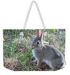 Baby Bunny Eating Dandelion #01 Weekender Tote Bag