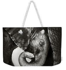 Baby Elephant Seeking Comfort Weekender Tote Bag by Johan Swanepoel
