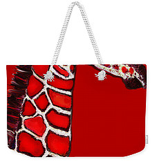 Baby Giraffe In Red Black And White Weekender Tote Bag by Jane Schnetlage