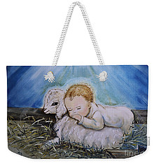 Weekender Tote Bag featuring the photograph Baby Jesus Little Lamb by Nava Thompson