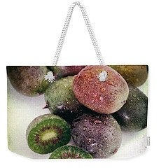 Baby Kiwi With Text Distressed Weekender Tote Bag by Iris Richardson