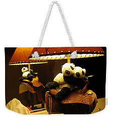 Weekender Tote Bag featuring the photograph Baby Pandas In A Saddle  by Ausra Huntington nee Paulauskaite