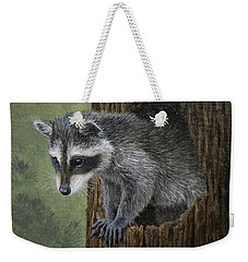 Baby Raccoon Weekender Tote Bag by Crista Forest