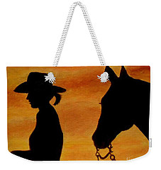 Weekender Tote Bag featuring the painting Back To The Barn by Julie Brugh Riffey