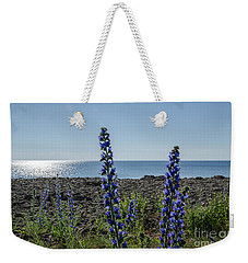 Backlit Blue Flowers  Weekender Tote Bag