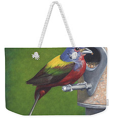 Weekender Tote Bag featuring the painting Backyard Bunting by Dee Dee  Whittle