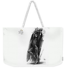 Weekender Tote Bag featuring the drawing A Dance Of Balance by Paul Davenport