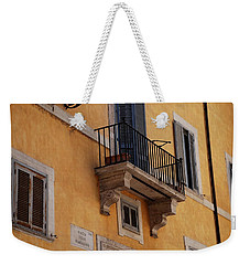 Weekender Tote Bag featuring the photograph Balcony Piazza Della Madallena In Roma by Dany Lison