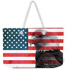 Bald Eagle American Flag Weekender Tote Bag by Dan Sproul
