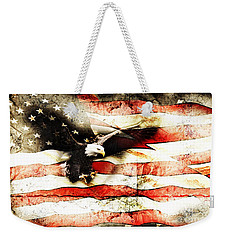 Weekender Tote Bag featuring the photograph Bald Eagle Bursting Thru Flag by Eleanor Abramson