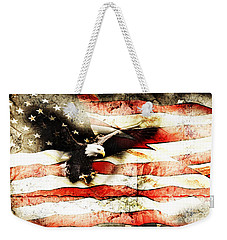 Bald Eagle Bursting Thru Flag Weekender Tote Bag