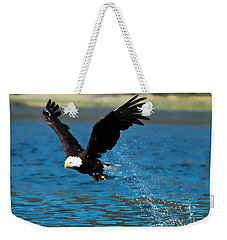 Weekender Tote Bag featuring the photograph Bald Eagle Fishing by Don Schwartz