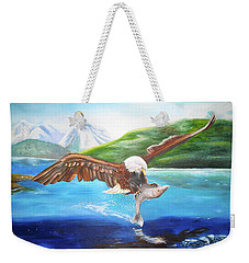 Weekender Tote Bag featuring the painting Bald Eagle Having Dinner by Thomas J Herring