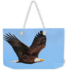 Weekender Tote Bag featuring the photograph Bald Eagle In Flight by Debbie Stahre