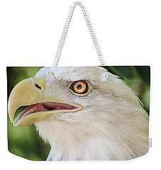 Weekender Tote Bag featuring the photograph American Bald Eagle Portrait - Bright Eye by Patti Deters