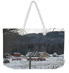 Weekender Tote Bag featuring the photograph Bales Of Hay by Brenda Brown