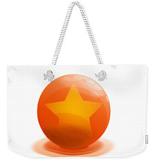 Weekender Tote Bag featuring the sculpture orange Ball decorated with star white background by R Muirhead Art