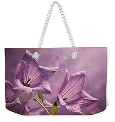 Weekender Tote Bag featuring the photograph Balloon Flowers by Ann Lauwers