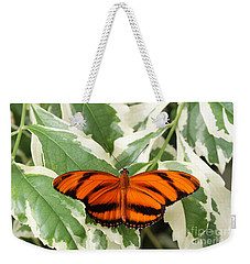 Banded Orange Longwing Butterfly Weekender Tote Bag by Judy Whitton