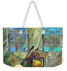 Weekender Tote Bag featuring the mixed media Banjo Room by Ally  White