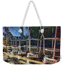 Weekender Tote Bag featuring the photograph Bar Stools Up by Daniel Sheldon