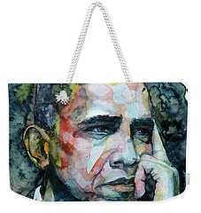Weekender Tote Bag featuring the painting Barack by Laur Iduc