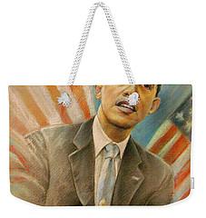 Barack Obama Taking It Easy Weekender Tote Bag by Miki De Goodaboom