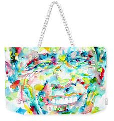 Barack Obama - Watercolor Portrait Weekender Tote Bag by Fabrizio Cassetta