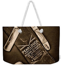 Barber - Tools For A Close Shave - Black And White Weekender Tote Bag by Paul Ward