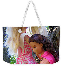 Weekender Tote Bag featuring the photograph Barbie's Climbing Trees by Nina Silver