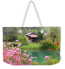 Barn And Flowers Near Pond Weekender Tote Bag